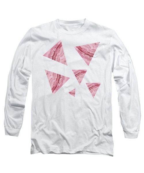 Long Sleeve T-Shirt featuring the digital art Pink Blue Lace Agate Triangles On Grey by Rachel Hannah