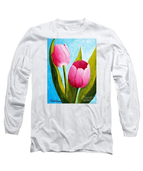 Pink Bubblegum Tulip II Long Sleeve T-Shirt by Phyllis Howard