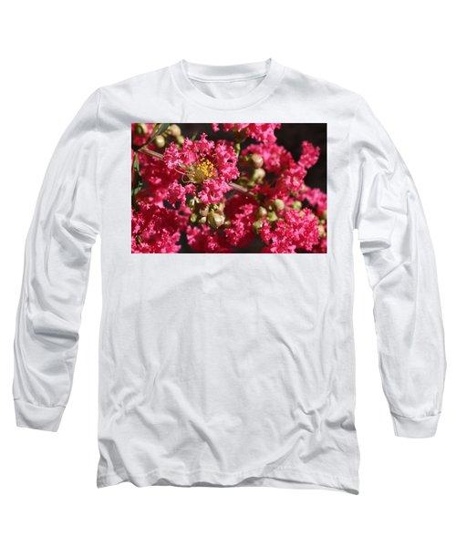 Pink Crepe Myrtle Flowers Long Sleeve T-Shirt