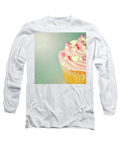Long Sleeve T-Shirt featuring the photograph Pink Cupcake With Lovehearts by Lyn Randle