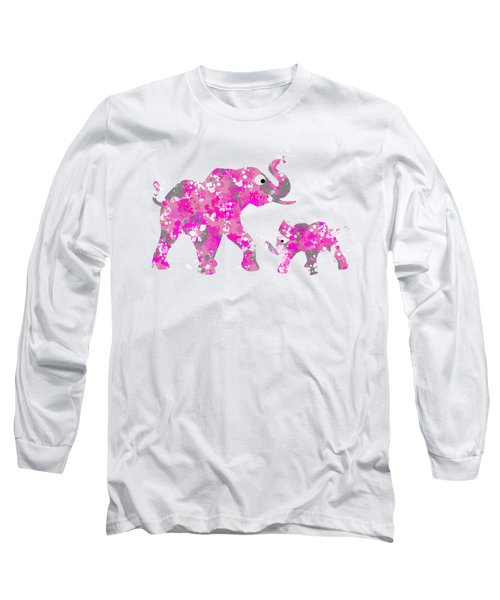 Pink Elephants Long Sleeve T-Shirt by Christina Rollo