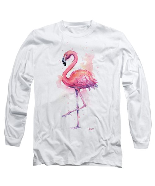 Pink Flamingo Watercolor Tropical Bird Long Sleeve T-Shirt