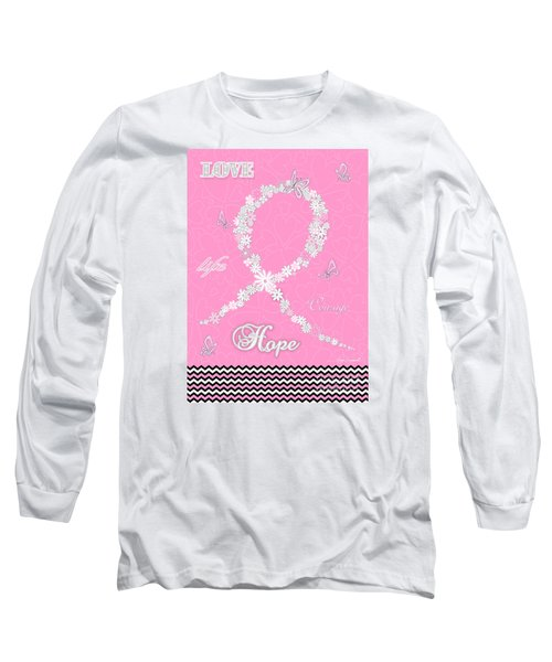 Pink Floral Breast Cancer Butterfly Design With Chevron Pattern Long Sleeve T-Shirt