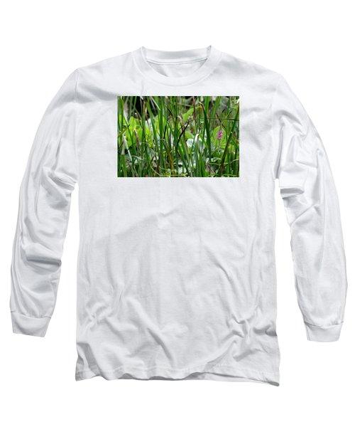 Pink Flower In The Grass Long Sleeve T-Shirt
