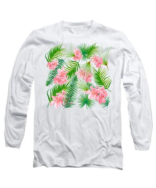 Pink Frangipani And Fern Leaves Long Sleeve T-Shirt by Jan Matson
