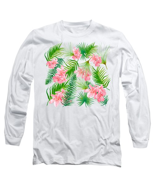 Pink Frangipani And Fern Leaves Long Sleeve T-Shirt
