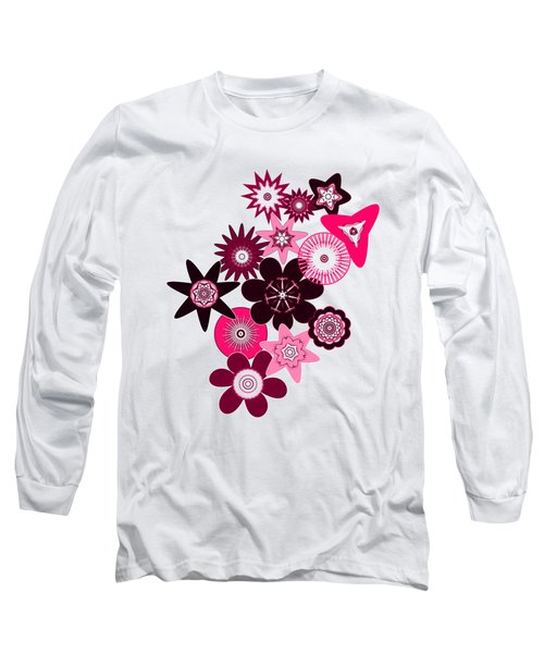 Pink Funky Flowers Long Sleeve T-Shirt by Methune Hively