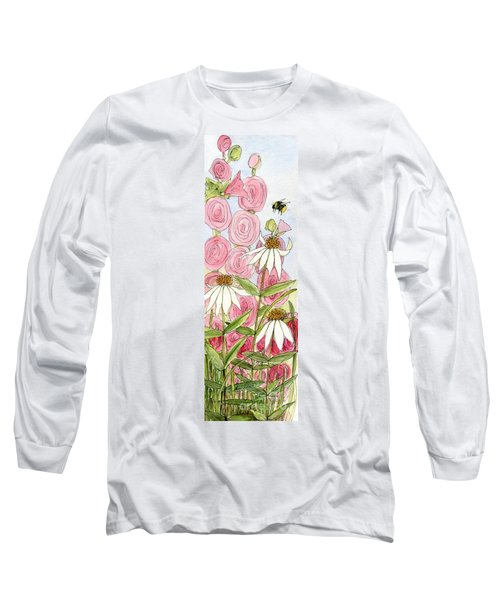 Pink Hollyhock And White Coneflowers Long Sleeve T-Shirt