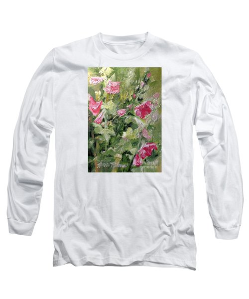 Pink Hollyhocks Long Sleeve T-Shirt by Laurie Rohner