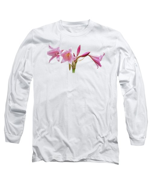 Pink Lilies On Black Long Sleeve T-Shirt by Gill Billington