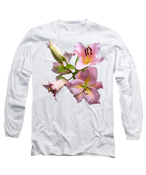 Pink Lilies On Cream Long Sleeve T-Shirt by Jane McIlroy