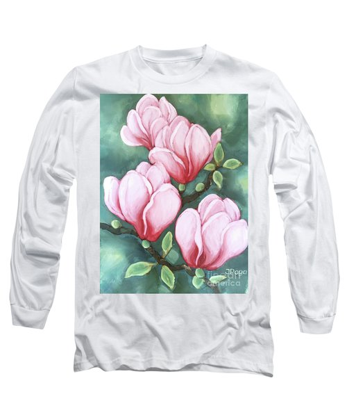 Pink Magnolia Blooms Long Sleeve T-Shirt