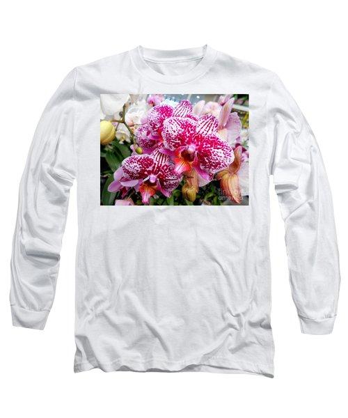 Pink Moth Orchids Long Sleeve T-Shirt