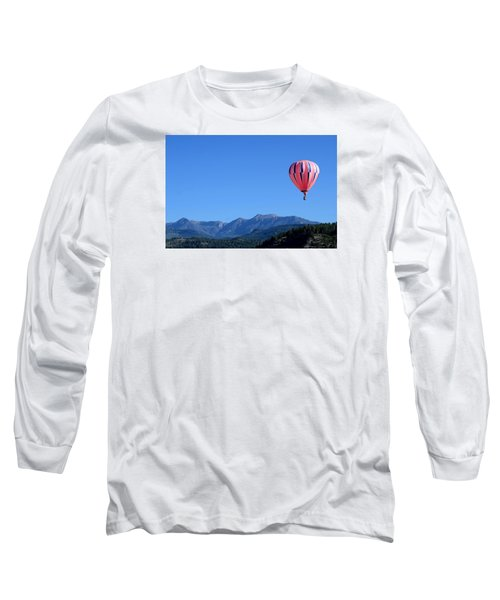 Pink On Blue Long Sleeve T-Shirt by Kevin Munro