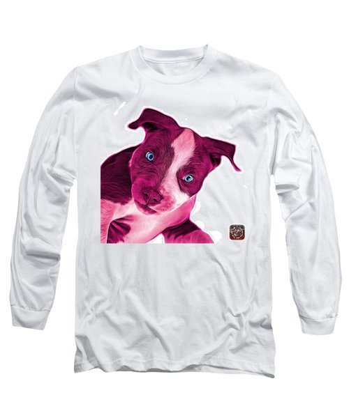 Pink Pitbull Dog Art 7435 - Wb Long Sleeve T-Shirt