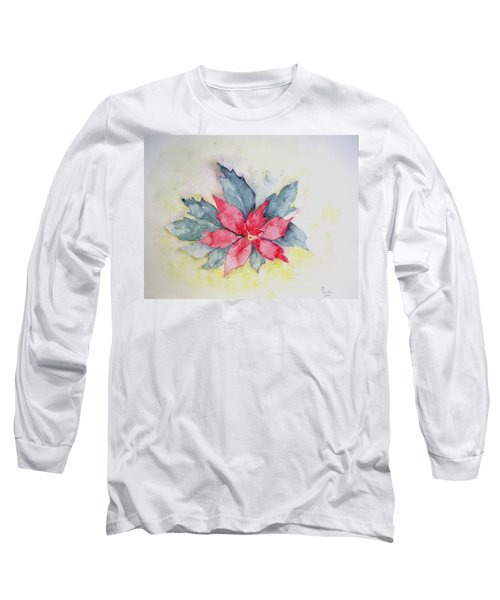 Pink Poinsetta On Blue Foliage Long Sleeve T-Shirt