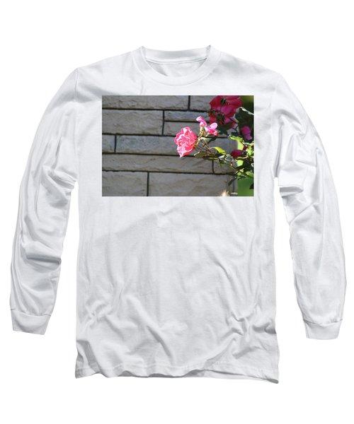 Pink Rose Against Grey Bricks Long Sleeve T-Shirt by Michele Wilson