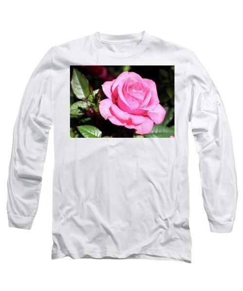 Pink Rose Long Sleeve T-Shirt by Ronda Ryan