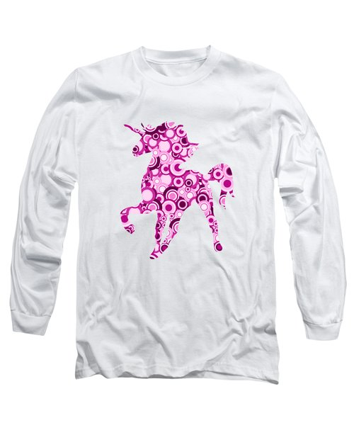 Pink Unicorn - Animal Art Long Sleeve T-Shirt by Anastasiya Malakhova