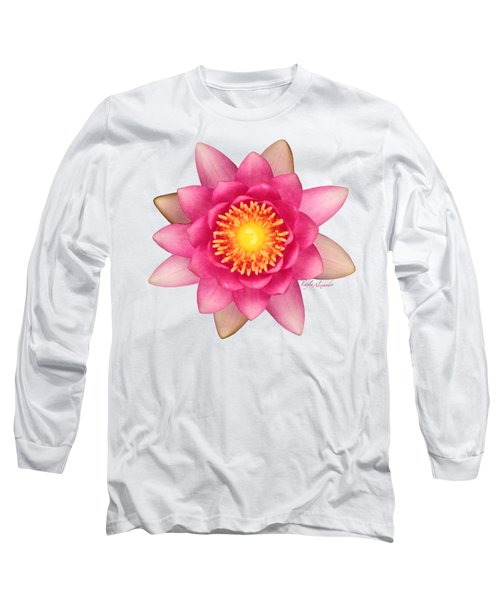 Pink Water Lily Yellow Nectar Transparent Long Sleeve T-Shirt