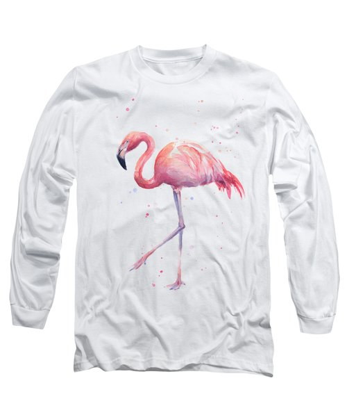 Pink Watercolor Flamingo Long Sleeve T-Shirt