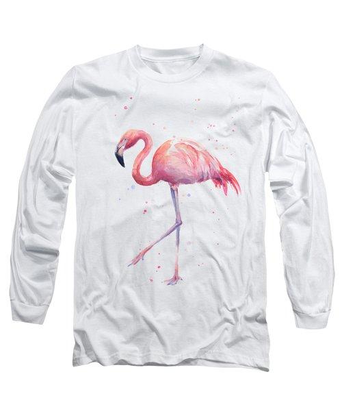 Pink Watercolor Flamingo Long Sleeve T-Shirt by Olga Shvartsur