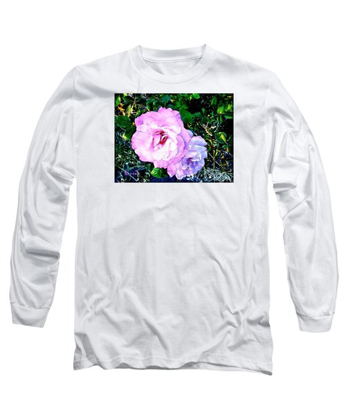 Long Sleeve T-Shirt featuring the photograph Pink - White Roses  2 by Sadie Reneau