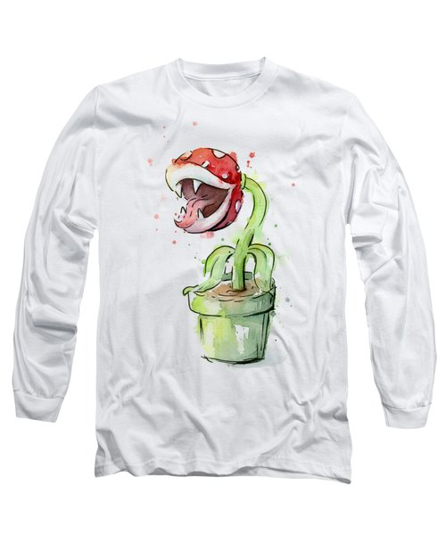 Piranha Plant Watercolor Long Sleeve T-Shirt
