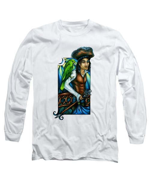 Pirate With Parrot Art Long Sleeve T-Shirt