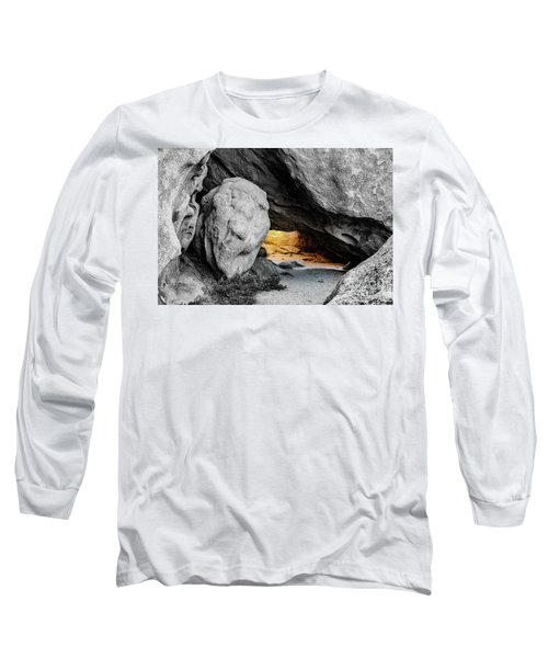 Pirate's Cave, Black And White And Gold Long Sleeve T-Shirt
