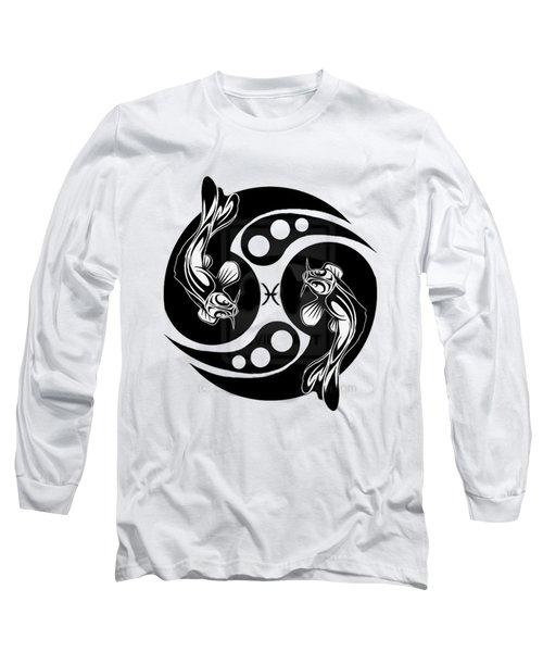 Pisces Koi Long Sleeve T-Shirt by  Fli Art