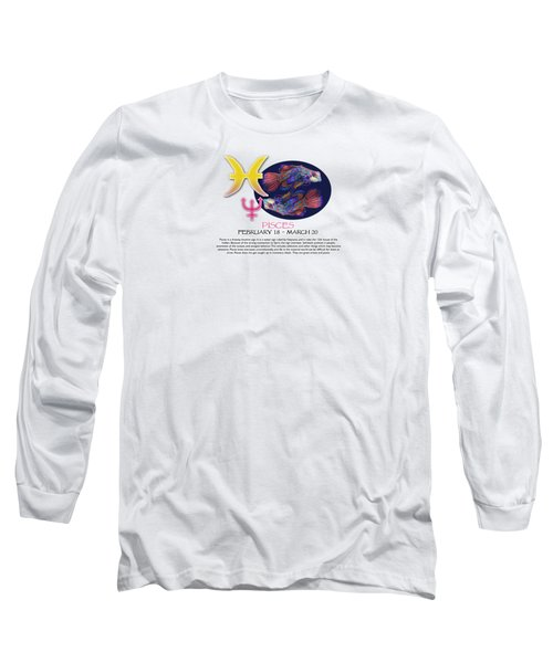 Pisces Sun Sign Long Sleeve T-Shirt by Shelley Overton