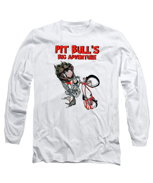 Pit Bull's Big Adventure Caricature Long Sleeve T-Shirt