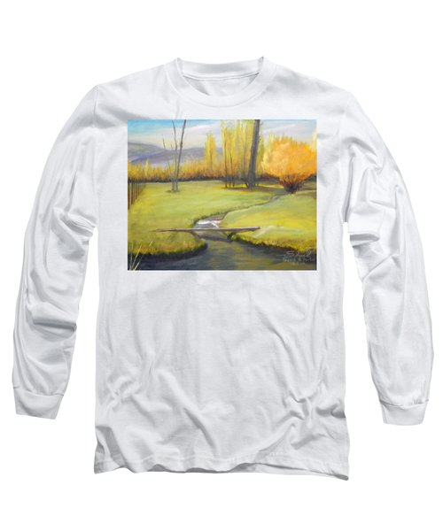 Placid Stream In Field Long Sleeve T-Shirt by Sherril Porter