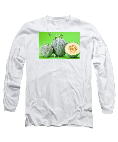 Long Sleeve T-Shirt featuring the photograph Planting Cantaloupe Melons Little People On Food by Paul Ge