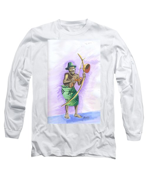 Player Umuduri From Rwanda Long Sleeve T-Shirt by Emmanuel Baliyanga