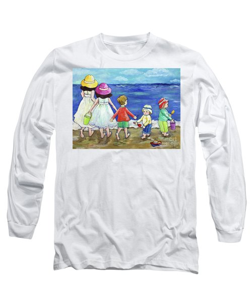 Playing At The Seashore Long Sleeve T-Shirt by Rosemary Aubut