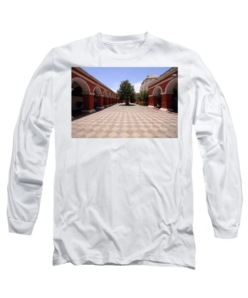 Long Sleeve T-Shirt featuring the photograph Plaza At Santa Catalina Monastery by Aidan Moran