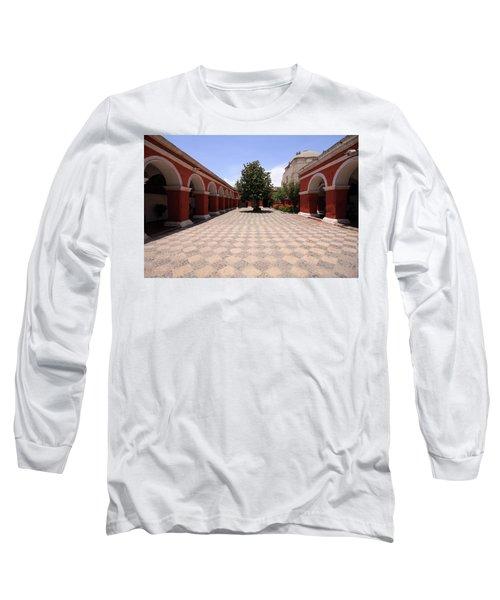 Plaza At Santa Catalina Monastery Long Sleeve T-Shirt by Aidan Moran