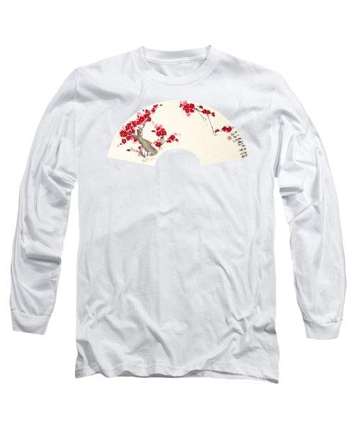 Plum Blossom In Fan - Transparent Long Sleeve T-Shirt