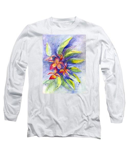 Long Sleeve T-Shirt featuring the painting Plumeria by Carol Wisniewski