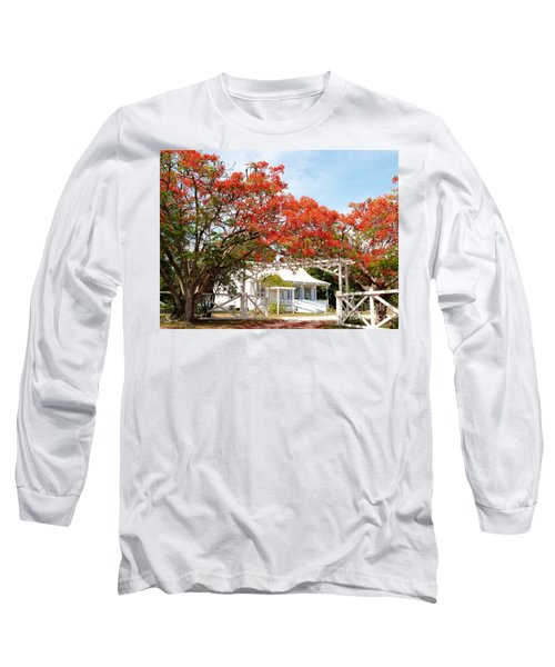Poinciana Cottage Long Sleeve T-Shirt by Amar Sheow