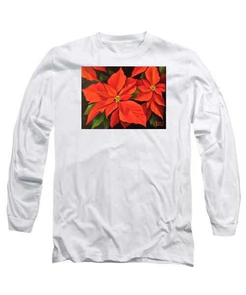 Poinsettia  Long Sleeve T-Shirt by Katia Aho