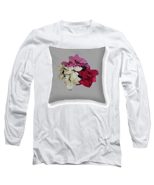 Poinsettias Pillow Grey Background  Long Sleeve T-Shirt by R  Allen Swezey