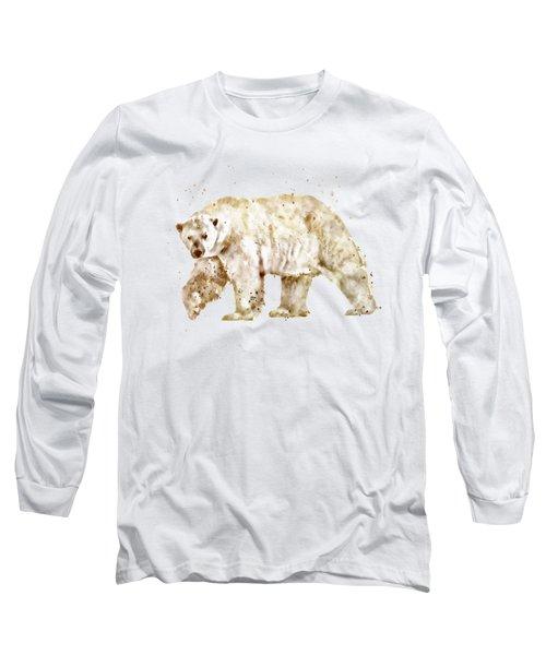 Polar Bear Watercolor Long Sleeve T-Shirt by Marian Voicu