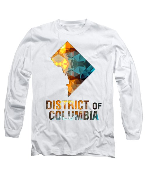 Polygon Mosaic Parchment Map District Of Columbia Long Sleeve T-Shirt
