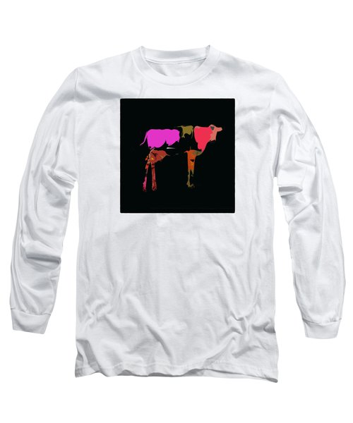 Pop Art Cow Long Sleeve T-Shirt by James Bethanis