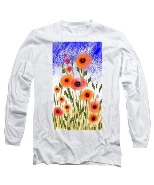Long Sleeve T-Shirt featuring the digital art Poppy Garden by Elaine Lanoue