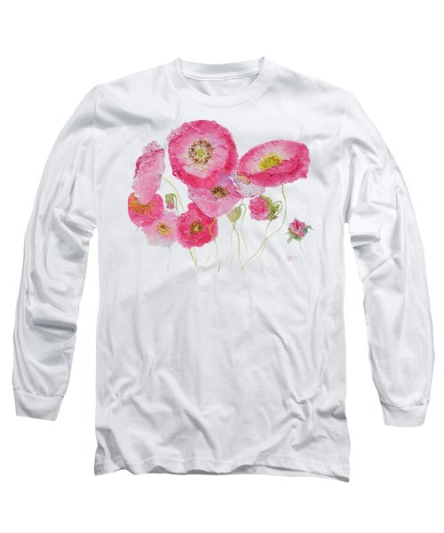 Poppy Painting On White Background Long Sleeve T-Shirt by Jan Matson