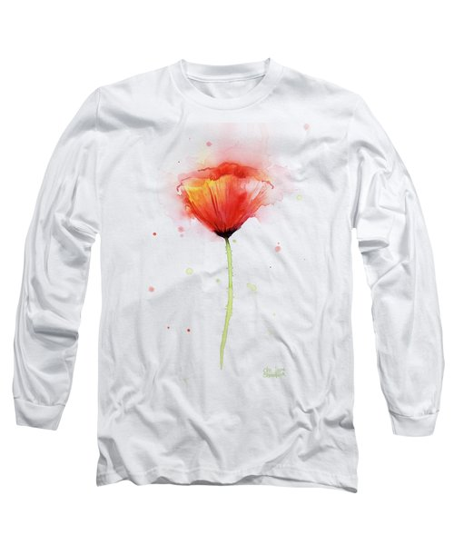 Poppy Watercolor Red Abstract Flower Long Sleeve T-Shirt by Olga Shvartsur